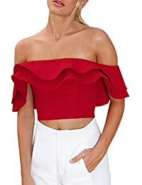 V Neck Crop Top, Tee Shirt Femme Swag, Frenchenal 2018 Femmes Sexy  Ébouriffer Chemise Épaule Manche Courte Chemise Chemisier… 6aac2859ce7c