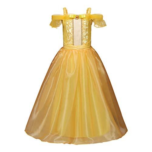 Cosplay Kosmos Kostüm - wuayi Mädchen Kleider, Mädchen Belle Kostüm Prinzessin Kleid Drop Shoulder Cosplay Kostüm Weihnachten Halloween