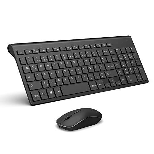 JOYACCESS Wireless Tastatur Maus Set, Ultradünne 2.4Ghz USB Aufladbare QWERTZ Tastatur mit Maus Kabellose, 2400DPI Optische Maus für PC, Smart TV, Desktop, Laptop, Windows Deutsches Layout-Schwarz -