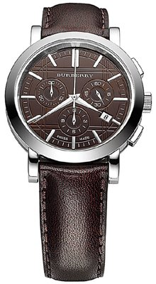 Vendita. Authentic Burberry Heritage lusso uomo unisex Chronoghraph orologio in pelle marrone fascia incisa data quadrante BU1383