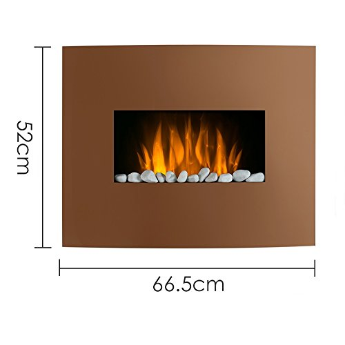 Curved Copper Effect LED Wall Mounted Electric Fireplace with a Set of White Decorative Stones Red