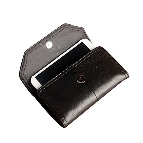 Genda 2Archer Lange Leder Geldbörse Taille Gürteltasche für Männer (Kaffee) Schwarz