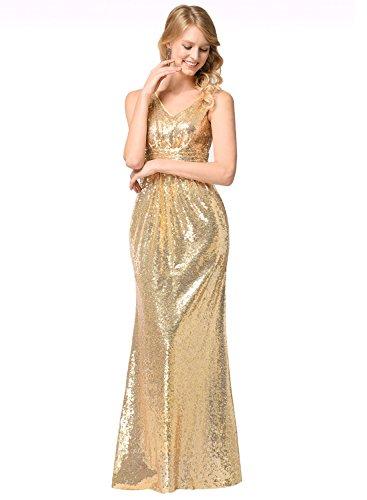 Frauen V-Ausschnitt Warp Kleid Night Out Kleid Partei lange Pailletten Kleid Gold M (Pailletten-kleid Zusammen)