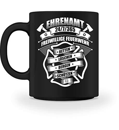 (Shirtee Ehrenamt 24/7/365 Freiwillige Feuerwehr - Feuerwehrmann Feuerwehrfrau Feuerwehrleute FFW 112 Geschenk - Tasse -M-Schwarz)