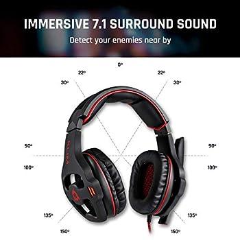 KLIM Mantis Cuffie Gaming USB - Micro Headset da Gaming - Suono Surround 7.1 - Alta Qualità Audio - Cuffie da Gaming con Microfono - Perfette Per PC PS4 Games - [ Nuova 2020 Versione ]