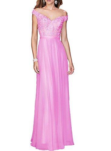 maintenant et à jamais pour femme Col en V A-Line patchs à dentelle satiné longue Robe de soirée Prom voir à travers Dos Nf114 rose vif