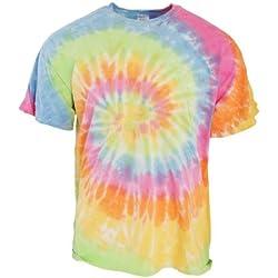 TDUK - Camiseta psicodélica modelo arcoíris de manga corta para hombre 100% Algodón- Verano Hippie (Grande (L)/Aeriel)