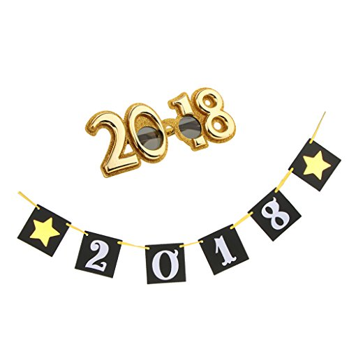 F Fityle 2018 Stars Garland and Glitter 2018 Party Brille Frohes Neues Kostüm