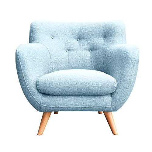 myHomery Sessel Adele gepolstert - Polsterstuhl für Esszimmer & Wohnzimmer - Lounge Sessel mit Armlehnen - Eleganter Retro Stuhl aus Stoff mit Holz Füßen - Hellblau | Sessel