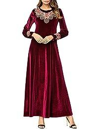 BESBOMIG Musulman Femmes Brodé Manche Longue Robe D épissage - Automne  Décontractée Slim Fit Grand Kaftan Caftan Abaya Dubai… 4a03ad67a5c