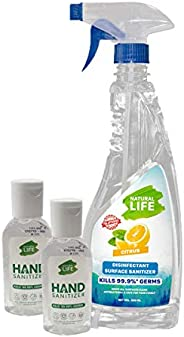 NATURAL LIFE Citrus Surface Sanitizer 500ml & Hand Sanitizer Small 55 ml, 99% Natural - Combo (500 ml x 55
