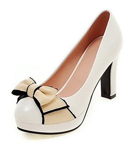 VogueZone009 Femme Matière Souple Tire Rond à Talon Haut Couleurs Mélangées Chaussures Légeres Blanc