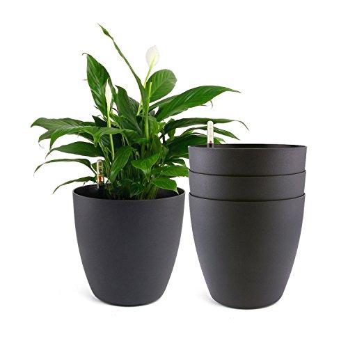 ComSaf Bac à Fleurs Auto-Irrigation Noir 35 * 32cm Plastique Rond Lot de 4, Pot avec Réserve d'eau et Indicateur de Niveau d'eau Pot avec Système d'Arrosage pour Planter Les Plantes Facilement