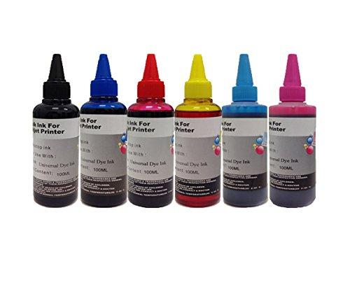 Kit ricarica cartucce 6 flaconi 100ml inchiostro coroli universale per brother hp canon lexmark epson stylus photo px650 / px660 / px700w / px710w / px720wd / px730wd / xp-750 / xp-850 / xp-950