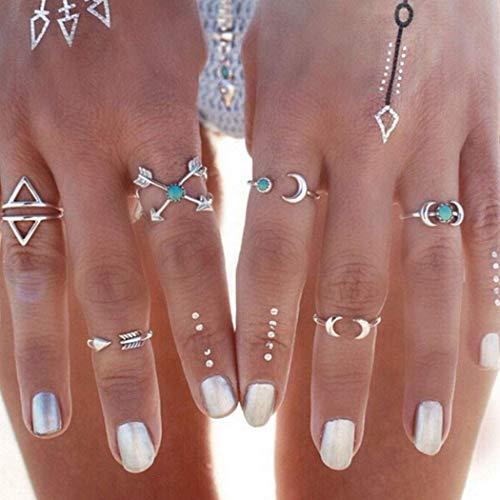 Simsly Boho Moon - Juego anillos nudillos mujeres