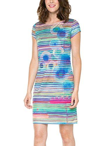 Desigual Ultra - Robe - Tunique - Imprimé - Manches courtes - Femme Bleu (Turquesa Flour)