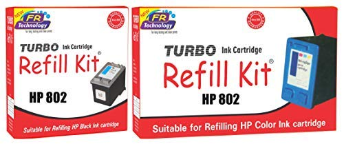 Generic Turbo HP 802 Black and HP802 Color Ink Cartridge Refill  Combo Set of 2