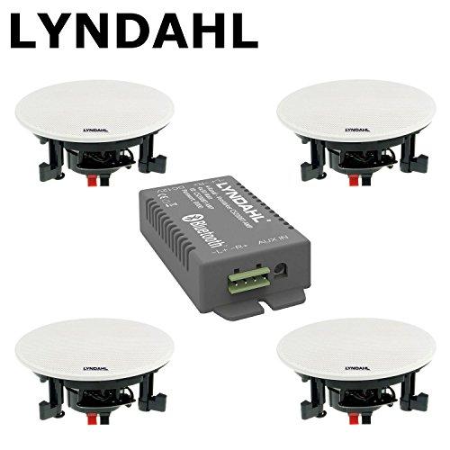 LYNDAHL CS200BT-Kit wahlweise mit 2 oder 4 Lautsprechern inkl. Bluetoothverstärker, Einbaulautsprecher, Bluetooth, Deckenlautsprecher mit AUX-IN, Bluetoothlautsprecher mit 4 Lautsprechern