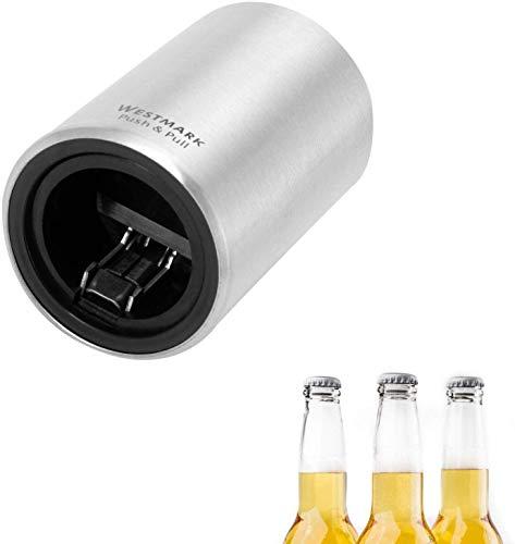 Westmark Automatischer Flaschenöffner/Kapselheber, Zum Öffnen von Kronkorken-Flaschen, Gebürstetes Aluminium, Push&Pull, Silber, 5.3 x 5.3 x 8 cm