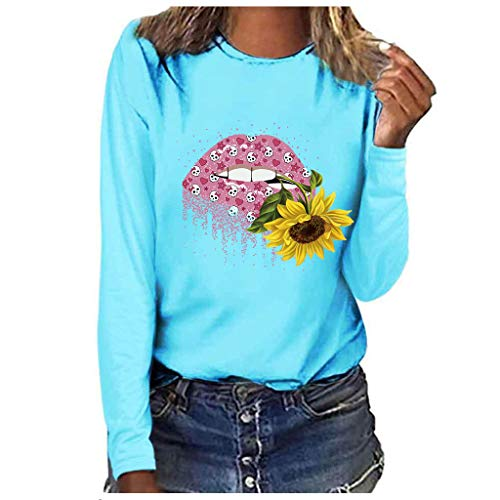 Bluse Tops Pullover,Honestyi Damenmode Plus Size Print Rundhals Langarm T Shirt Bluse Tops Damenmode große Rundhals Langarm-T-Shirt(Blau,XXL)