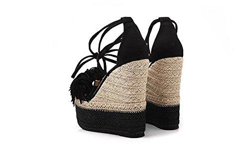 LvYuan Frauen Sommer Sandalen / Sexy Ultra High Heel / Wasserdichte Plattform / Stroh Flechten / Wedge Ferse / Quaste Gürtelschnalle / Office & Karriere / Roman Schuhe Black