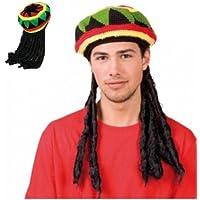Pour homme Motif Bob Marley-Jamaique-Rasta Bonnet à motif Rasta Bonnet Perruque Dreadlocks Lumineuses World
