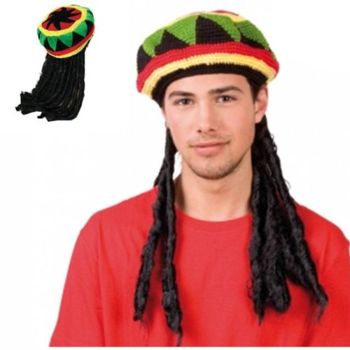 Mens Ladies Jamaican Bob Marley Rasta Hat With Dreadlocks - Rastafarian Hat Wig BY (WOT) (Karibik Themed Kostüm)