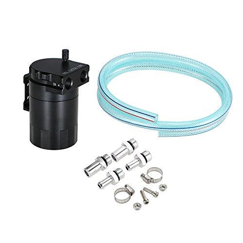 KKmoon Motoröl-Auffangbehälter kompatibel mit Luftfiltern, Alminiumlegierung, universell, mit Schlauchset Schwarz -