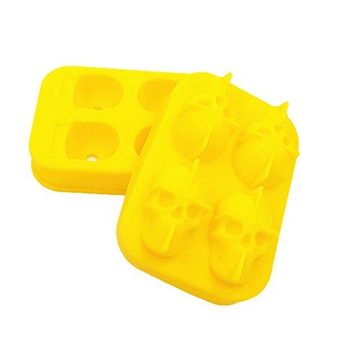 Huhuswwbin 3D-Halloween-Totenkopf-Form aus Silikon, für Schokolade, Süßigkeiten, Eiswürfel, Partyzubehör, Himmelblau gelb