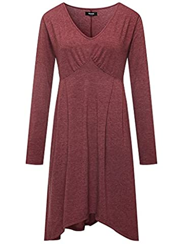 Wantdo Women's Casual V Neck Tunic Top Simple Plain T-shirt Midi Long Sleeve Loose Dress Purple