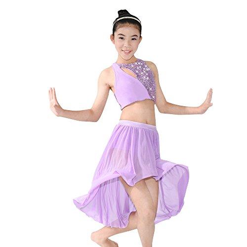 MiDee 2 Stück Pailletten Tank Top Hoch-niedrig Latin Tanz Kleid Lyrical Kostüm (Lila, (Kostüme Billig Dance Lyrical)