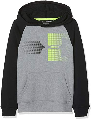 Under Armour Jungen Rival Logo Hoody Oberteil, Steel Light Heather/High-Vis Yellow (035), YMD (Coldgear Youth Armour Under)