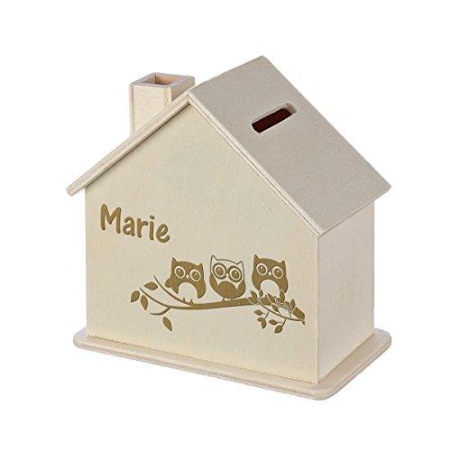 Spardose Haus mit Gravur - Sparbüchse aus Holz - Geschenk für jeden Anlass - Motiv Eulenfamilie