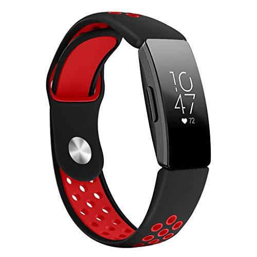 WAOTIER für Fitbit Inspire HR Armband Silikon Atmungsaktiv Armband Kompatibel für Fitbit Inspire Armband für Fitbit Inspire HR Weiche Silikon Schnellverschluss Wasserdicht Armbänder (Rot)
