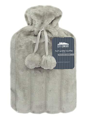 CityComfort Wärmflasche mit Super Soft Luxury Plüschbezug | 2 Liter Wärmflaschen | Britisches Design sicher und langlebig (Hellgrau))