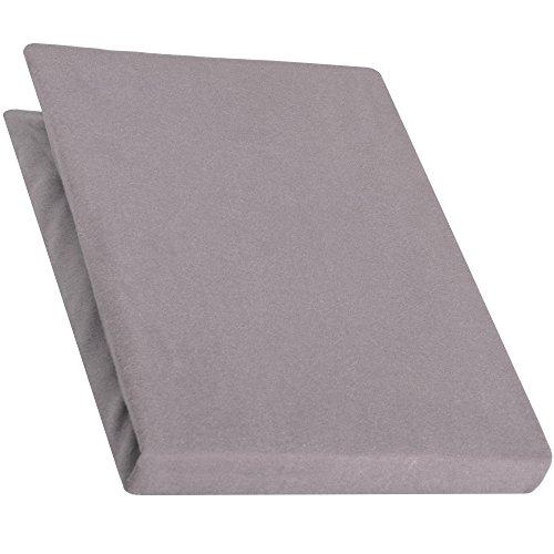 aqua-textil Pur Jersey Spannbettlaken 180x200-200x220 cm dunkel grau Wasserbetten Boxspringbetten Mako Baumwolle