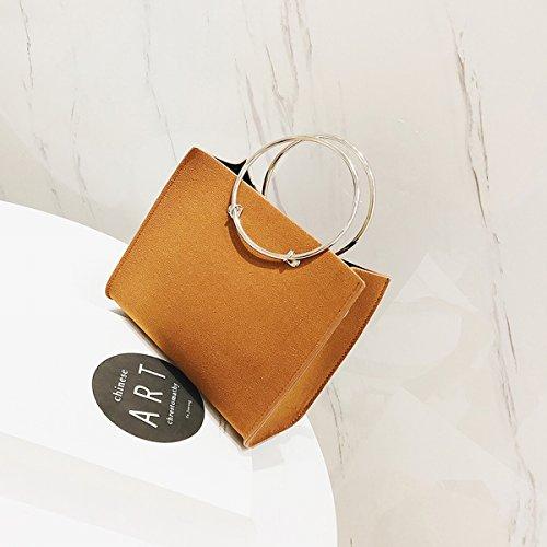 726c39c671cf9 Weibliche metall Ring Frosted handtasche kleine quadratische tasche  messenger bag Braune Trompete. Style  Damen Umhängetasche  Gewebetextur  PU  ...