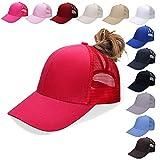NeuFashion Ponycap Messy High Bun Ponytail Adjustable Mesh Trucker Baseball Cap Hat