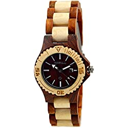 Bewell Women Wood Watch Maple Wood & Red Sandalwood Watch Wood Dial Plate Quartz Wristwatches with Box