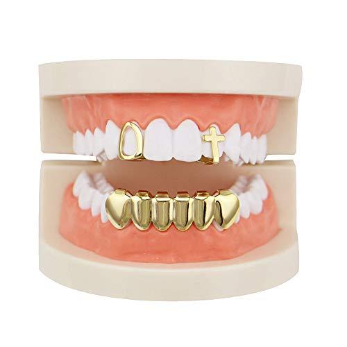 Preisvergleich Produktbild Dfghbn Unisex: Luxuriöses,  vergoldetes Hip Hop-Bling-Zahn-Set mit hohlen,  oberen und unteren Grillzahnkappen - Hochglanz für Erwachsene Kostümparty-Zubehör Zahngrills Zahngrills Kinder (Farbe : Gold)