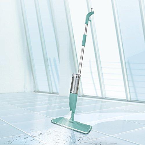 Scopa lavapavimenti a spruzzo con tanica xxl da 600ml, innovativa scopa verde mela con funzione spray integrata, per pavimenti turchese