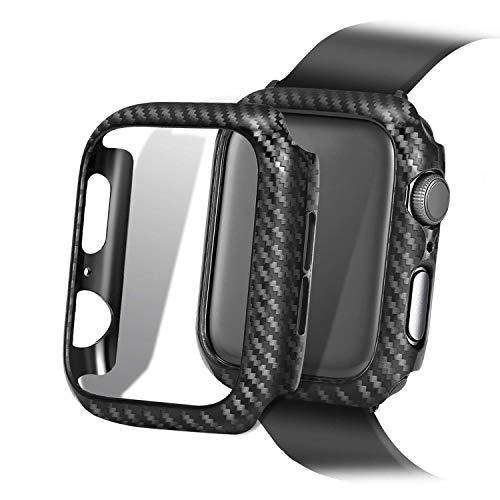 Schutzhülle für Apple Watch, Karbonfaser-Struktur, Harter PC Rahmen, Hochglanz, Twill-Web-Finish, 38/40/44/42 mm, 40mm Case, Black 40mm