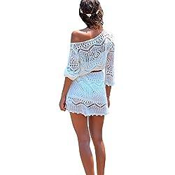 Mujeres Ganchillo Hueco Bikini Cover Vestido De Playa Trajes De Baño Blanco