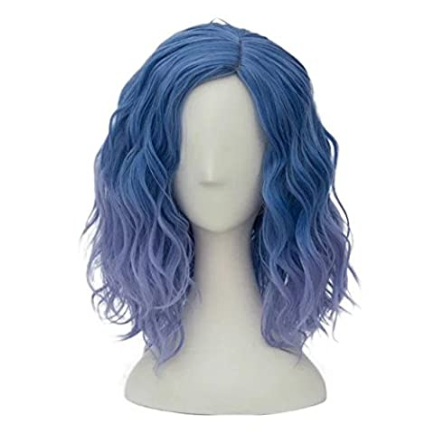 Top Cosplay Süß Lolita Damen Gewellt Kurz Perücke Blau zu Violett (Nicht Grund Halloween Kostüme)