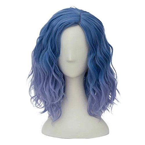 Damen Perücke (Top Cosplay Süß Lolita Damen Gewellt Kurz Perücke Blau zu)