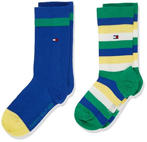 Tommy Hilfiger Jungen TH Kids Basic Stripe 2P Socken, Mehrfarbig (Blue Green 289), 31-34 (Herstellergröße: 031) (2erPack (Blue-stripe-socken)