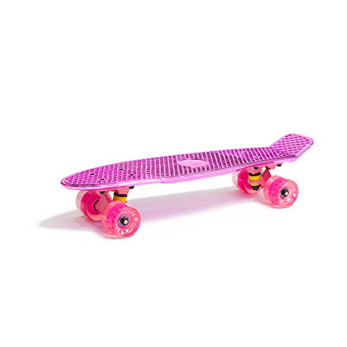 WUBOX Skateboard 22\' 23\' 27\' Penny Board Retro Mini Cruiser Board Patineta, Skateboard Modell:Fish metalizing 22, Skateboard Farbe:Pink Metallic