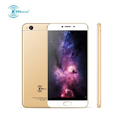 Smartphone Pas Cher,Ken V8 Telephone Portable Debloqué 4G (Écran: 5,5 Pouces - 16Go - 2Go de RAM - MT6735 Quad Core - Double SIM - Appareil photo 13MP - Empreinte Digitale - Android OS 6.0) -Blond