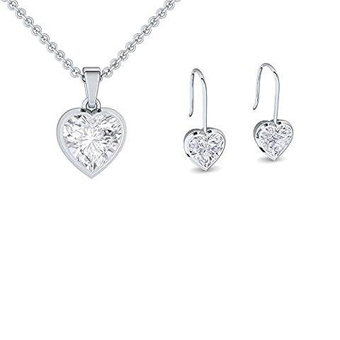 Schmuckset Herz Silber Herzkette 925 Herzanhänger Herz Ohrringe Ohrstecker *GESCHENK