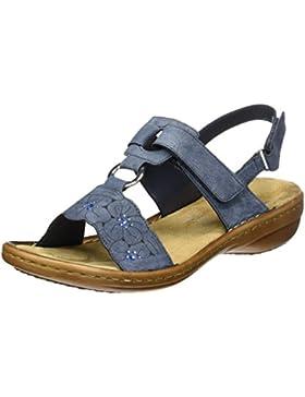 Rieker Damen 60843 Offene Sandalen mit Keilabsatz